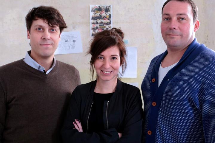 Die Macher des Verlages Voland & Quist: Sebastian Wolter (39, links), Karína Fenner (31) und Leif Greinus (43).