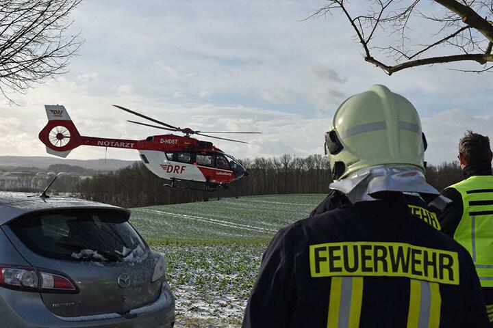 Ein Hubschrauber war ebenfalls im Einsatz.