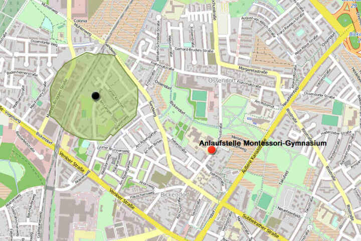 Eine Karte des Evakuierungsradius und der Anlaufstelle.