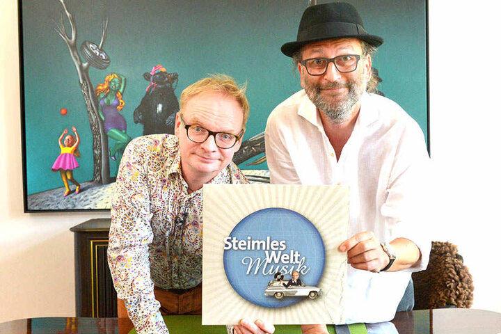 """Uwe Steimle (54, l.) und Musiker Michael Seidel (54) haben """"Steimles Welt Musik"""" in Vinyl gepresst."""