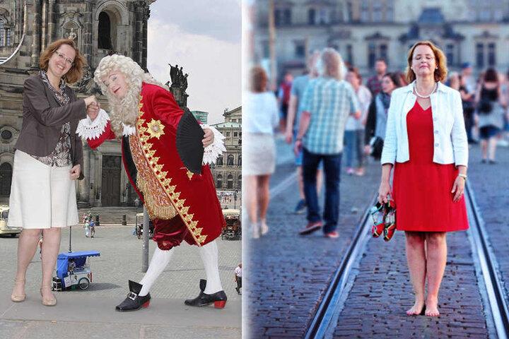 Links: Rückblick ins Jahr 2009: Bettina Bunge mit August dem Starken alias Steffen Urban. Rechts: Mit Leib und Seele warb Bettina Bunge (49) seit 2009 als Marketing-Chefin für Dresden.