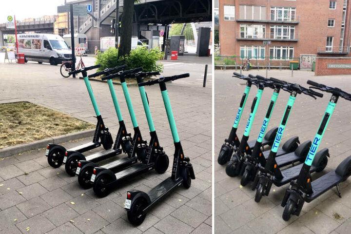 Elektro-Scooter in Hamburg gesichtet: Die E-Tretroller von Tier stehen an verschiedenen Ecken zwischen der Speicherstadt und den Landungsbrücken.