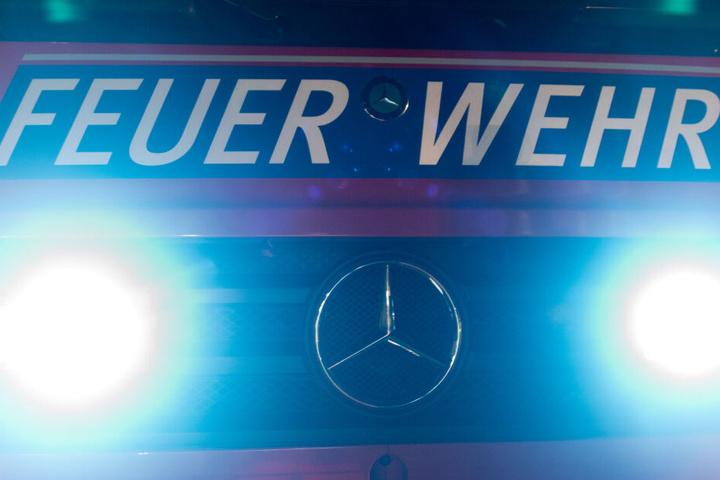 """Frontblitzer strahlen an der Front eines Feuerwehrfahrzeuges und der Aufschrift """"Feuerwehr"""". (Archivbild)"""