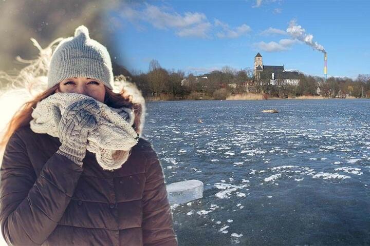 Minusgrade in Chemnitz: Die Sonne scheint - aber der Schlossteich ist mit einer dicken Eisschicht überzogen.