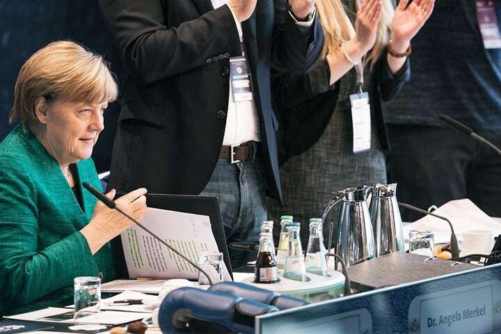 Beim JU-Deutschlandtag gab es noch Beifall für Bundeskanzlerin Angela Merkel.