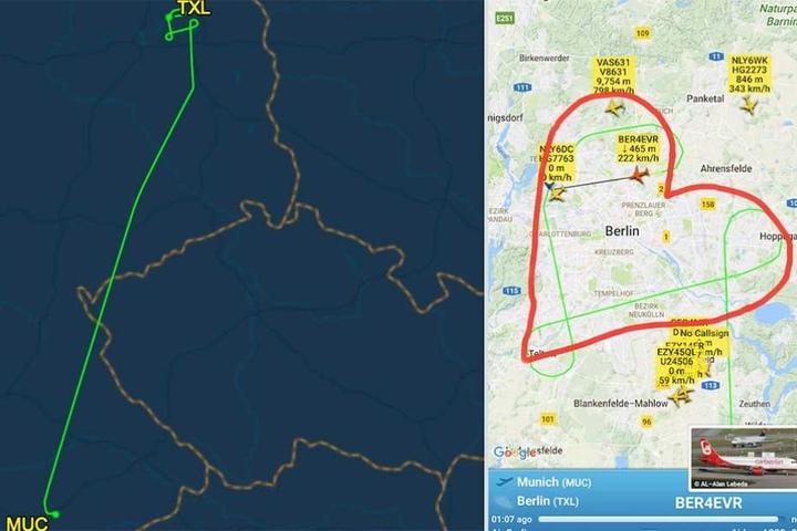 Über Berlin flog der Pilot eine Ehrenrunde in Form eines Herzens.