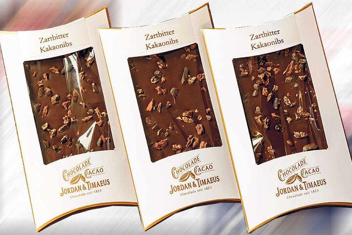 """Das historische Logo der Dresdner Schokoladenfabrik """"Jordan & Timaeus"""" ziert die süßen Produkte des Start-up-Unternehmens."""