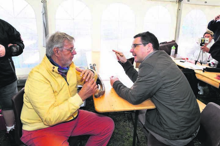 Morgenpost-Reporter Ronny Klein im Gespräch mit Morten Grunwald, der in 14  Olsenbanden-Filmen Benny  verkörperte.