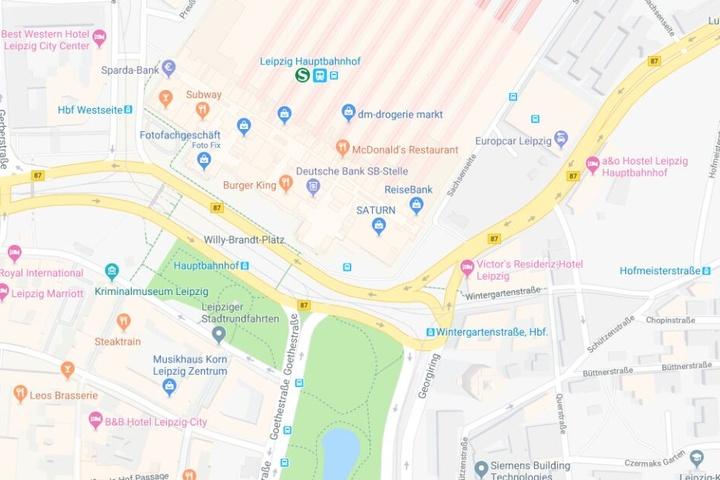 Der Vorfall ereignete sich am Willy-Brandt-Platz vor dem Leipziger Hauptbahnhof.