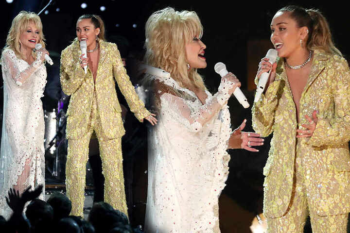 "Mit ihrer Patentante Dolly Parton (li.) sang Miley Cyrus den Song ""Jolene""."