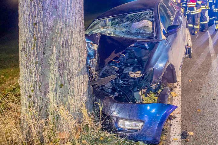 Bei Mildenau prallte ein VW gegen einen Baum. Der Fahrer wurde schwer verletzt.