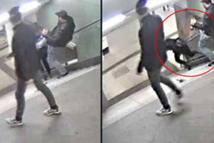 Mit einem Tritt in den Rücken seines arglosen Opfers stieß der Mann sie die Treppen runter.