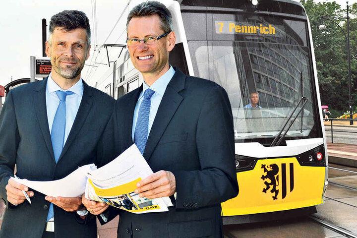 Die DVB-Vorstände Lars Seiffert (47) und  Andreas Hemmersbach (48, r.).