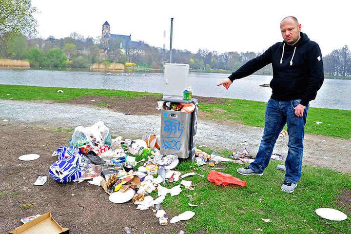 So sah's am Wochenende rund um den Schlossteich aus: Nicht nur Thomas Zimmermann (36) ärgerte sich darüber.