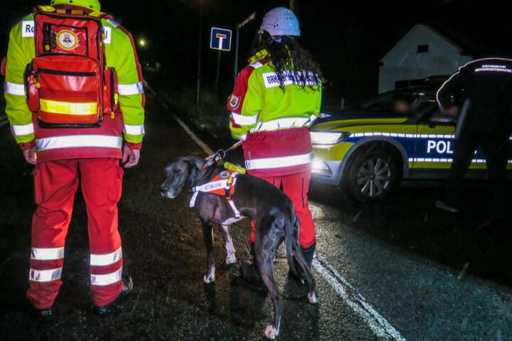 Die Polizei suchte mit Unterstützung von Fährtensuchhunden, Kollegen der Polizeidirektion Zwickau, der Bergwacht sowie Rettungshundestaffel und einem Polizeihubschrauber. (Archivbild)