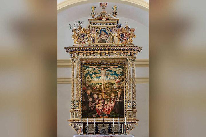 Das Kurfürsten-Kostüm wurde nach dem Vorbild des Altarbildes von Lucas Cranach dem Jüngeren angefertigt.