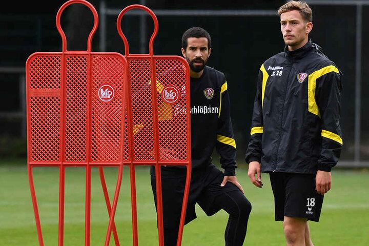 Jannik Müller (r.), hier beim Training mit Nils Teixeira, ist bereit, auch am Sonntag wieder für den noch verletzten Florian Ballas einzuspringen.