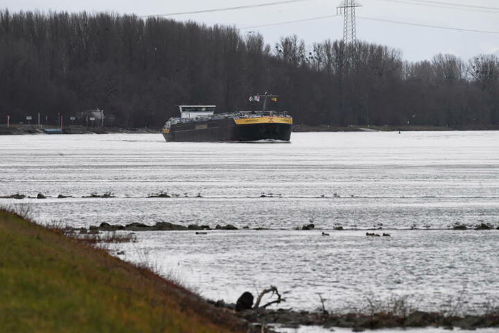 Ein Schiff fährt bei Karlsruhe Maxau am Samstag über den Rhein.