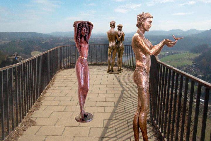 """Nur der hier sichtbare Bereich der berühmten Basteiaussicht ist gesperrt. Die  Figuren sollen den verwaisten Teil """"wiederbeleben""""."""