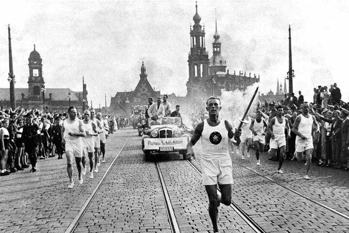 1936 führte der olympische Fackellauf durch Dresden.