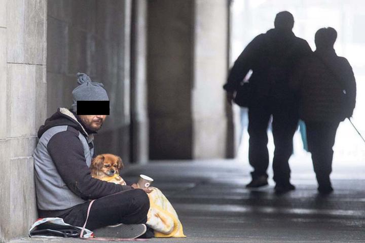 Dieser Mann bekam einen niedlichen Hund an die Seite gesetzt, sollte so mehr Mitleid erregen.