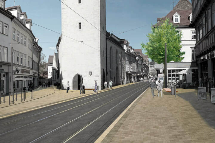 Moderner zeigt sich die Marktstraße nach der Umgestaltung. (Visualisierung)