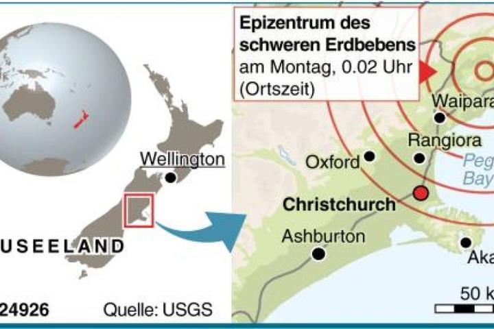 Überblick über die Erdbebenregion in Neuseeland.