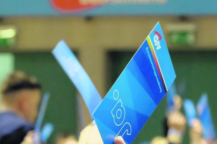 Die AfD - hier eine Stimmkarte auf einem Parteitag - rechnet im Wahljahr mit weiteren Neumitgliedern.