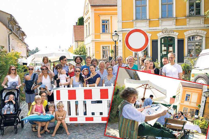 Was nach einem fröhlichen Sommerpicknick ausschaut, ist eine Frühstücks-Demo der rund 40 Anwohner und Gewerbetreibenden der Friedrich-Wieck-Straße in Loschwitz.