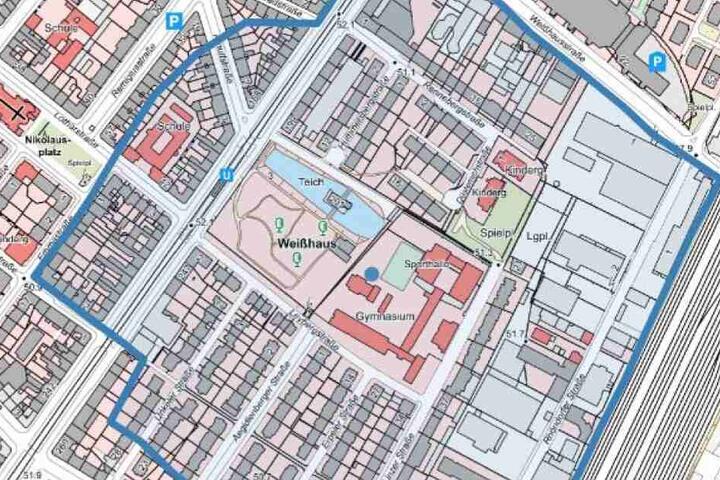 Der blaumarkierte Radius zeigt das zu evakuierende Gebiet.