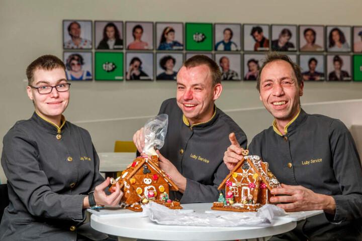 """Tina Töpler (25), Tobias Klengel (32) und Ronny Kretzschmar (42) von """"Luby Service"""" haben hier ganze Arbeit geleistet."""
