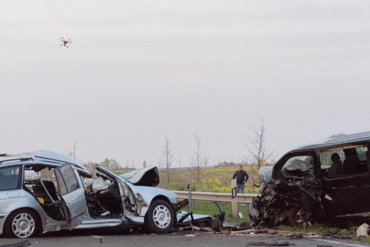 Die Polizei setzte zur Unfalluntersuchung auch eine Drohne ein.