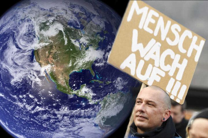 """li.: Die NASA-Aufnahme aus dem Jahr 2006 zeigt die westliche Hemispähre der Erdkugel. re.: Ein Teilnehmer der Demonstration """"Winterwanderung Strike WEF"""", die am 19. Januar vor dem 50. Jahrestreffen des Weltwirtschaftsforums in Davos (Schweiz) stattfand."""