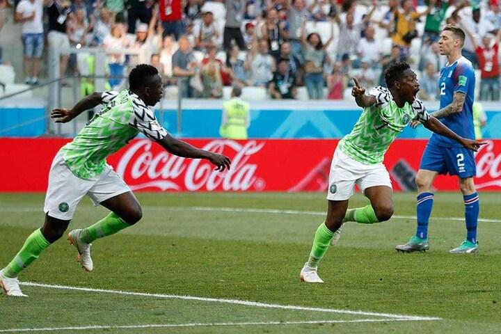 Der Doppelpack von Ahmed Musa aus Nigeria (2.v.r.) lässt Nigeria hoffen.