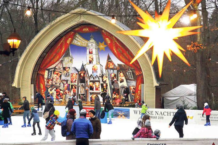 Eislaufen wie auf einer Waldlichtung - der Konzertplatz Weißer Hirsch macht's möglich.