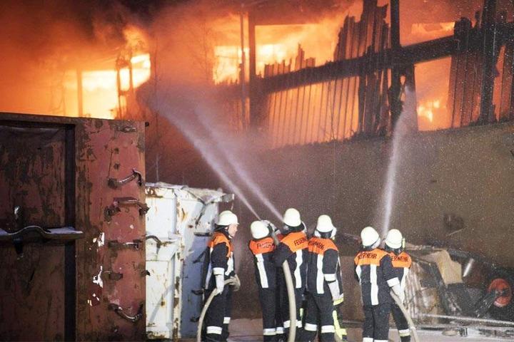 Etwa 180 Feuerwehrleute der umliegenden Wehren wurden alarmiert und bekämpften über Stunden den Brand.