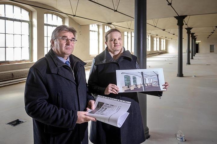 Die historischen Maschinensäle der 1885 gebauten Aktienspinnerei wandeln sich unter Leitung von Peter Voit (60) und Kerstin Reinhardt.