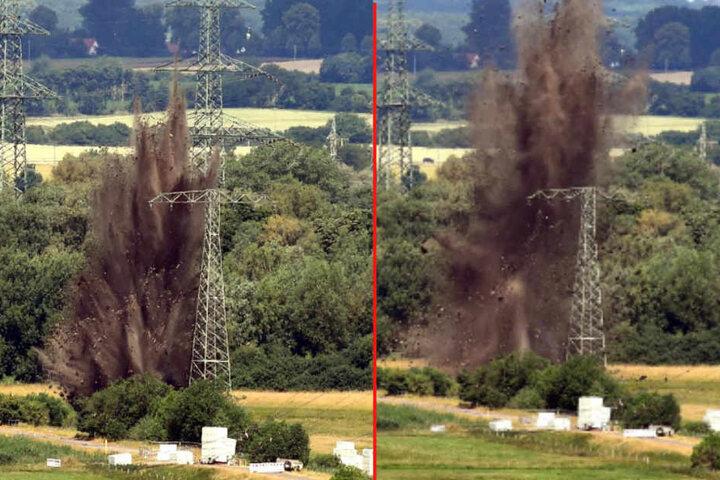 Eine der Bomben lag direkt an einer Hochspannungsleitung.