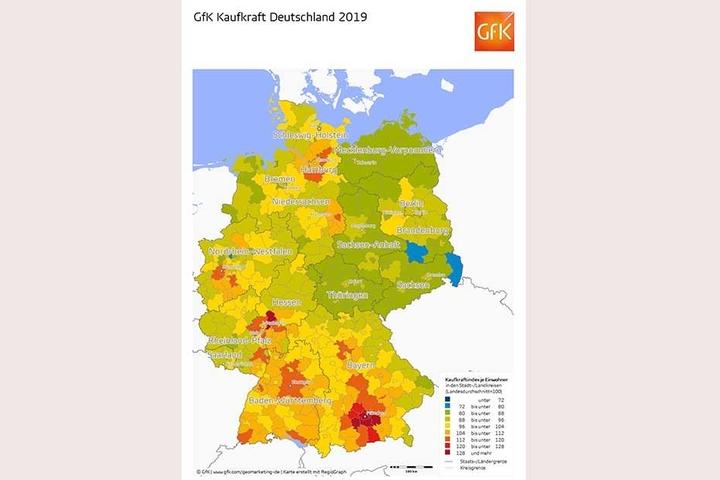 Die Grafik zeigt die Wohlstands- und Armutsregionen in Deutschland