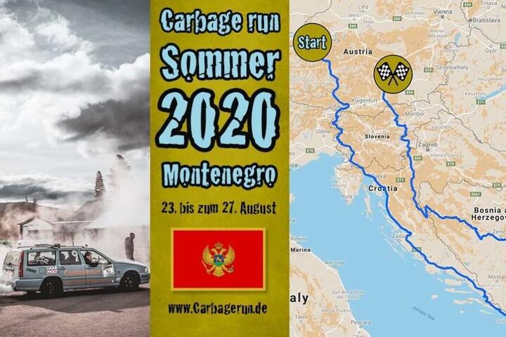 Mit alten, billigen Autos muss die Strecke zwischen Salzburg und Montenegro absolviert werden.