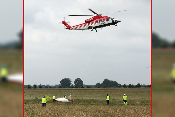 Ab Mitte August wird der Hubschrauber die Sonde über das Erkundungsgebiet fliegen und elektromagnetische Signale von möglichen Erzkörpern empfangen.