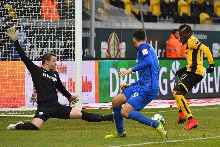 """Moussa Koné hält nach der Eingabe von Philip Heise den """"Schlappen"""" hin - 2:0!"""