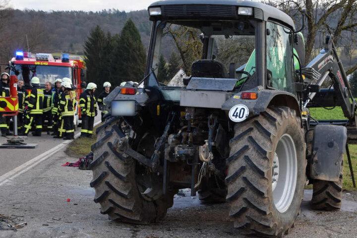 Dieser Traktor kippte um.