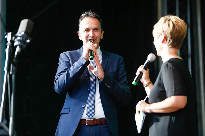 Riesa-OB Marco Müller (43, CDU) eröffnete den Sachsen-Tag.
