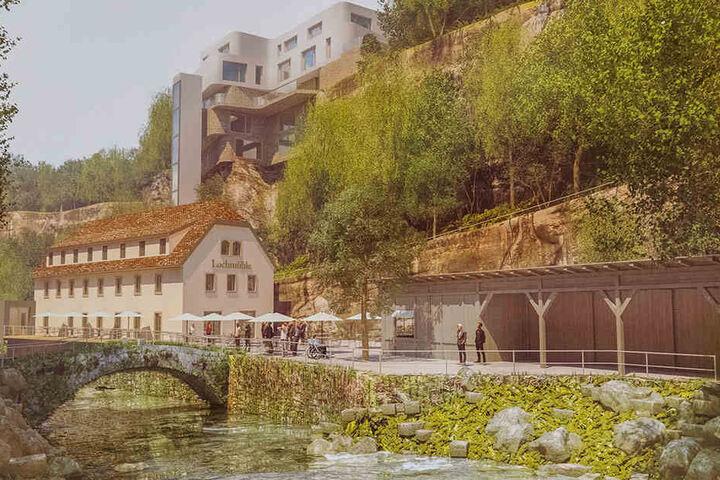 So soll es aussehen: Ein Hotelprojekt soll die Lochmühle retten. Politik und Tourismusverband begrüßen die Pläne.