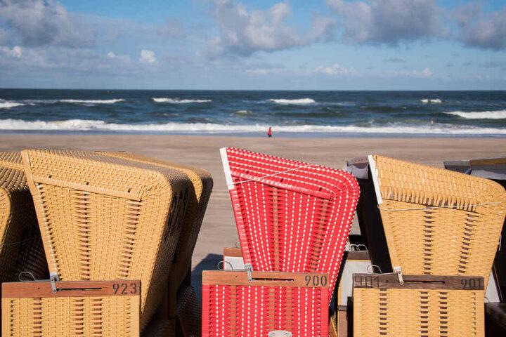 Zusammengestellte Strandkörbe stehen am Strand an der Nordsee. In Schleswig-Holstein kommen die bei Touristen gut an, sobald die Saison wieder los geht.
