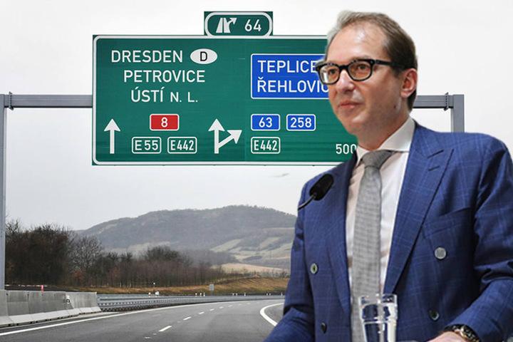 Bundesverkehrsminister Alexander Dobrindt (46, CSU)kommt zur  Autobahneröffnung.