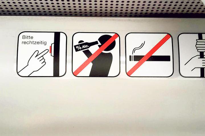 Das neue Verbotszeichen zeigt unmissverständlich, dass Alkoholkonsum in  Bussen und Bahnen untersagt ist.