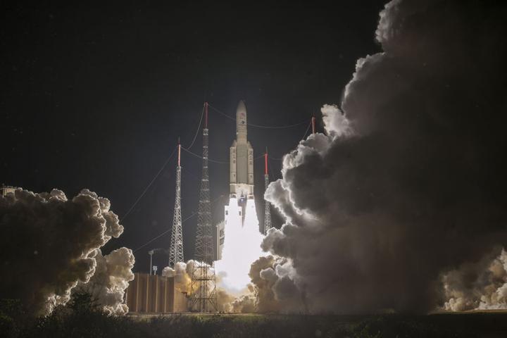 Der Start erfolgte vom Weltraumbahnhof Kourou in Französisch-Guayana.