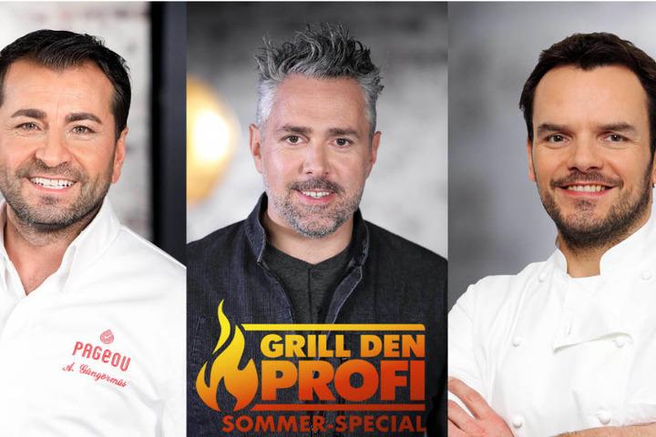 """Diese drei Profi-Köche treten in den """"Grill den Profi Sommer-Specials"""" gegen jeweils drei prominente Hobby-Griller an (l-r): Ali Güngörmüs, Roland Trettl und Steffen Henssler."""